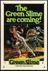 6s049 GREEN SLIME linen 1sh '69 classic cheesy sci-fi movie, great art of sexy astronaut & monster!