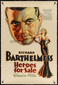 6s052 HEROES FOR SALE linen 1sh '33 sexiest art of Loretta Young & veteran-turned-addict Barthelmess