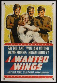 6s056 I WANTED WINGS linen style B 1sh '41 art of sexy Veronica Lake, Milland & Holden by Barclay!