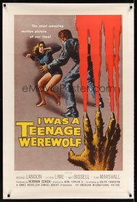 6s057 I WAS A TEENAGE WEREWOLF linen 1sh '57 AIP classic, great art of monster attacking sexy babe!