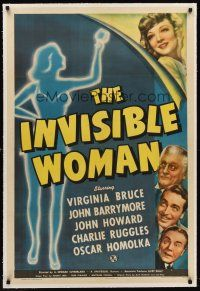 6s059 INVISIBLE WOMAN linen 1sh '40 FX art of Virginia Bruce, John Barrymore & sexy silhouette!