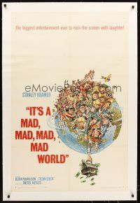 6s061 IT'S A MAD, MAD, MAD, MAD WORLD linen style A 1sh '64 great art of entire cast by Jack Davis!