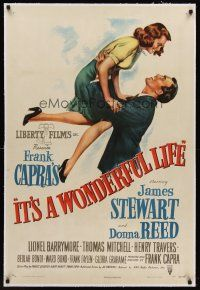 6s001 IT'S A WONDERFUL LIFE linen 1sh '46 wonderful art of James Stewart & Reed in Capra's classic!
