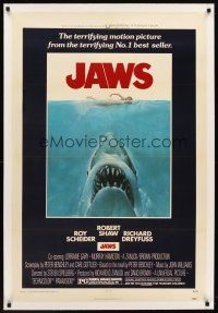 6s063 JAWS linen 1sh '75 art of Steven Spielberg's classic man-eating shark attacking sexy swimmer!