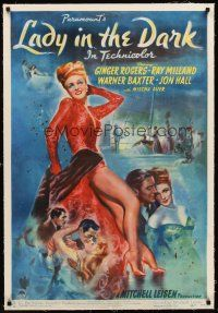6s065 LADY IN THE DARK linen 1sh '44 full-length art of sexy Ginger Rogers showing her legs!