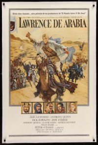 6s066 LAWRENCE OF ARABIA linen Spanish/U.S. pre-Awards 1sh '62 David Lean,Terpning art of O'Toole on camel