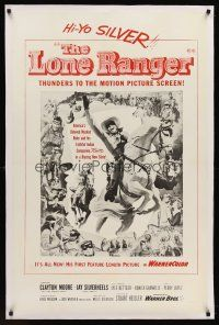 6s068 LONE RANGER linen military 1sh '56 art of Clayton Moore & Silver leaping out of the poster!