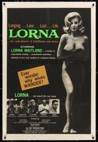 6s069 LORNA linen 1sh '64 super sexy naked Lorna Maitland in Russ Meyer classic!