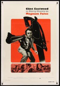 6s074 MAGNUM FORCE linen int'l 1sh '73 Clint Eastwood is Dirty Harry pointing his huge gun!