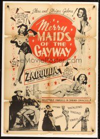 6s076 MERRY MAIDS OF THE GAY WAY linen 1sh '54 half-naked burlesque dancers, Stars & Strips galore!