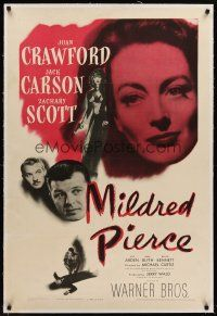 6s079 MILDRED PIERCE linen 1sh '45 Joan Crawford is the woman most men want, but shouldn't have!