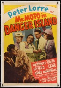 6s081 MR MOTO IN DANGER ISLAND linen 1sh '39 Peter Lorre plays J.P. Marquand's Asian detective!
