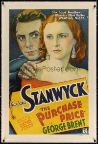 6s094 PURCHASE PRICE linen 1sh '32 stone litho of Barbara Stanwyck, who took another woman's place!