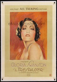 6s118 TRESPASSER linen 1sh '29 striking art of Gloria Swanson in her first talking picture!
