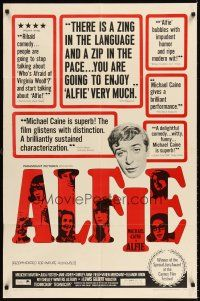 6t003 ALFIE 1sh '66 British cad Michael Caine loves them and leaves them, ask any girl!
