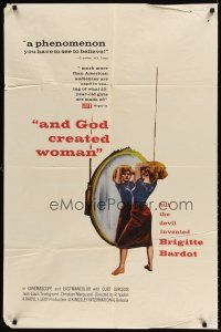 6t005 AND GOD CREATED WOMAN 1sh '57 but the Devil created sexy Brigitte Bardot!