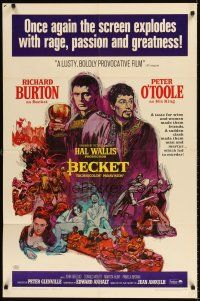 6t010 BECKET 1sh R67 different art of Richard Burton & Peter O'Toole by Sandy Kossin!