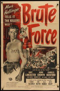 6t015 BRUTE FORCE 1sh '47 art of tough Burt Lancaster & sexy full-length Yvonne DeCarlo!