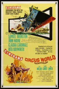 6t019 CIRCUS WORLD 1sh '65 never before seen Cinerama style with different artwork!