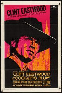 6t022 COOGAN'S BLUFF 1sh '68 art of Clint Eastwood in New York City, directed by Don Siegel!