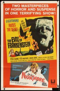 6t028 EVIL OF FRANKENSTEIN/NIGHTMARE 1sh '64 two masterpieces of horror & suspense in one show!