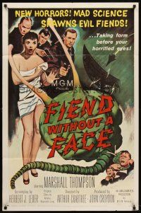 6t030 FIEND WITHOUT A FACE 1sh '58 giant brain & sexy girl in towel, mad science spawns evil!