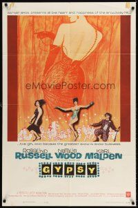 6t036 GYPSY 1sh '62 wonderful artwork of sexy Rosalind Russell & Natalie Wood!
