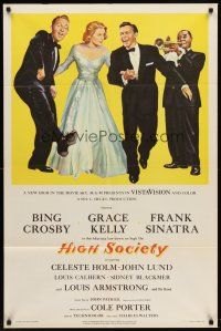 6t038 HIGH SOCIETY 1sh '56 art of Frank Sinatra, Bing Crosby, Grace Kelly & Louis Armstrong!