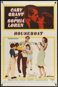 6t041 HOUSEBOAT 1sh '58 romantic close up of Cary Grant & beautiful Sophia Loren + with kids!