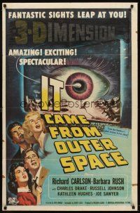 6t042 IT CAME FROM OUTER SPACE 1sh '53 Jack Arnold classic 3-D sci-fi, cool art by Joseph Smith!