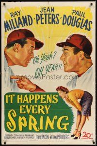 6t043 IT HAPPENS EVERY SPRING 1sh '49 Ray Milland & Douglas on St. Louis Cardinals baseball team!