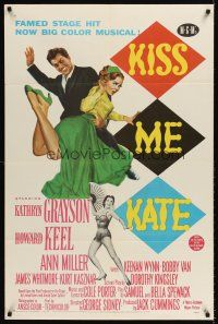 6t046 KISS ME KATE 1sh '53 great image of Howard Keel spanking Kathryn Grayson, sexy Ann Miller!