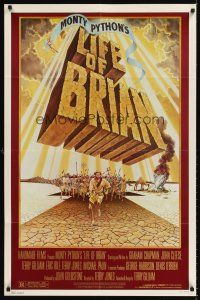 6t049 LIFE OF BRIAN 1sh '79 Monty Python, wonderful different artwork of Graham Chapman running!