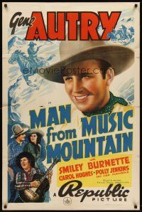 6t052 MAN FROM MUSIC MOUNTAIN 1sh '38 great close up of smiling Gene Autry, Smiley with guitar!