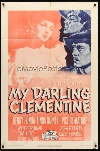 6t055 MY DARLING CLEMENTINE 1sh R53 John Ford, Henry Fonda, Victor Mature, sexy Linda Darnell!