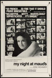6t056 MY NIGHT AT MAUD'S 1sh '70 Eric Rohmer's Ma nuit chez Maud, Francoise Fabian close up!