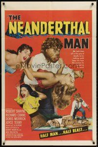 6t058 NEANDERTHAL MAN 1sh '53 great wacky monster image, nothing could keep him from his woman!