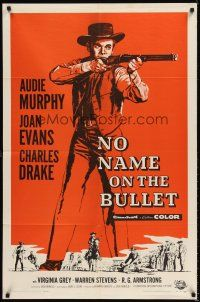 6t062 NO NAME ON THE BULLET 1sh '59 Audie Murphy as the strangest killer who ever stalked the West!