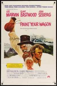 6t065 PAINT YOUR WAGON 1sh '69 art of Clint Eastwood, Lee Marvin & pretty Jean Seberg!