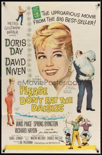 6t067 PLEASE DON'T EAT THE DAISIES 1sh '60 artwork of pretty smiling Doris Day, David Niven w/dog!