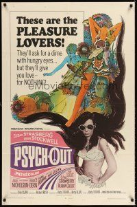 6t069 PSYCH-OUT 1sh '68 AIP, psychedelic drugs, sexy pleasure lover Susan Strasberg!