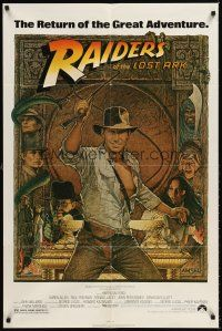6t072 RAIDERS OF THE LOST ARK 1sh R80s different art of adventurer Harrison Ford by Richard Amsel!