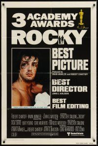 6t074 ROCKY int'l AA 1sh '77 different embrace c/u of boxer Sylvester Stallone & Talia Shire!