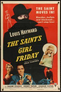 6t076 SAINT'S GIRL FRIDAY 1sh '54 blondes and bullets can't stop Louis Hayward!