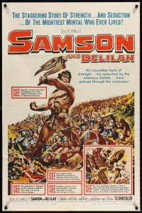 6t077 SAMSON & DELILAH 1sh R59 art of Hedy Lamarr & Victor Mature, Cecil B. DeMille