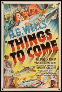 6t094 THINGS TO COME 1sh '36 William Cameron Menzies, H.G. Wells, best stone litho sci-fi art!