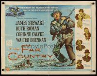 6w005 FAR COUNTRY 1/2sh '55 cool art of James Stewart with rifle, directed by Anthony Mann!