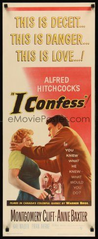 6w011 I CONFESS insert '53 Alfred Hitchcock, art of Montgomery Clift shaking Anne Baxter!