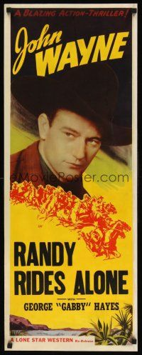 6w013 JOHN WAYNE insert '40s great close up of cowboy John Wayne, Randy Rides Alone!