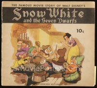 6w059 SNOW WHITE & THE SEVEN DWARFS softcover book '38 Disney animated cartoon fantasy classic!